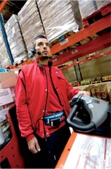 warehouse associate wearing vocollect equipment